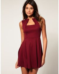 ASOS Collection - Red Asos Fit and Flare Dress with Square Neck - Lyst
