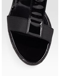 Fendi - Black Carioca T-strap Platform Wedge Sandals - Lyst