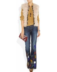 Textile Elizabeth and James - Blue Jimi Patchwork Flared Jeans - Lyst