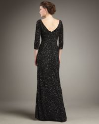 THEIA Black Three-quarter Sleeve Beaded Gown