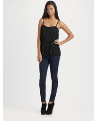 Theory | Black Pardia Silk-rich Fringe Top | Lyst