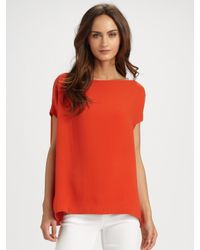 VINCE | Pink Silk-rich Georgette Boatneck Top | Lyst