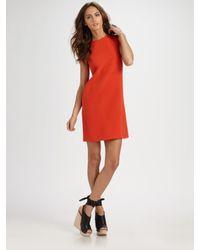 Vince | Orange Silk Georgette Shift Dress | Lyst