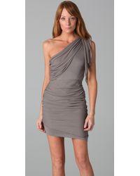Alice + Olivia Gray One Shoulder Drape Dress