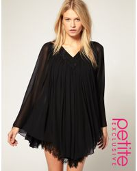 ASOS Collection | Black Asos Petite Exclusive Dress with Lace Trim Angel Sleeves | Lyst
