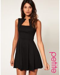 ASOS Collection - Black Asos Petite Square Neck Fit and Flare Dress - Lyst