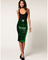 ASOS Collection | Green Asos Pencil Skirt in Sequins | Lyst