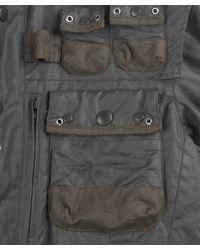 Barbour - Gray Moss Waxed Cotton Military Jacket for Men - Lyst