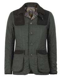 Barbour Gray Olive Waxed Quilted Sporting Jacket for men