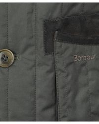 Barbour - Gray Olive Waxed Quilted Sporting Jacket for Men - Lyst