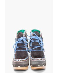 Belle By Sigerson Morrison Gray Suede Clog Eskimo Boots