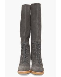 Belle By Sigerson Morrison Gray Tall Suede Lace Up Boots