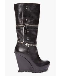 Camilla Skovgaard | Black Zip Wedge Shearling Boots | Lyst