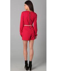 Dolce Vita - Red Daisy Long Sleeve Romper - Lyst