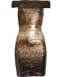 Hervé Léger Metallic Sequined Contrast Bandage Dress