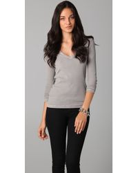James Perse - Gray Ribbed Long Sleeve Tee - Lyst