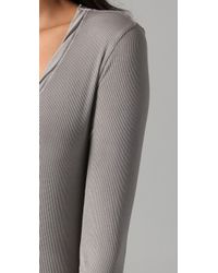 James Perse | Gray Ribbed Long Sleeve Tee | Lyst