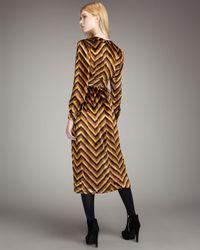 Marc By Marc Jacobs Yellow Jagz Chevron-stripe Velvet Dress
