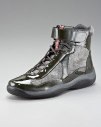 Prada | Green Patent Hi-top Sneaker for Men | Lyst