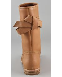 See By Chloé - Brown Bow Flat Boots - Lyst