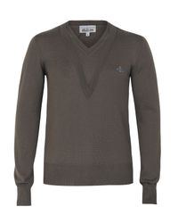 Vivienne Westwood | Natural Brown Double V-neck Long Sleeve Jumper for Men | Lyst