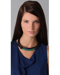 3.1 Phillip Lim Black Double Leather Circuit Collar Necklace