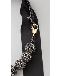 3.1 Phillip Lim Black Rhinestone Embroidered Circle Bead Necklace