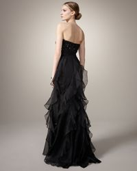 Badgley Mischka | Strapless Beaded-bodice Gown, Black | Lyst