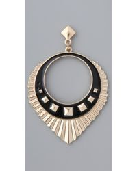 Belle Noel Metallic Egyptian Drop Hoop Earrings