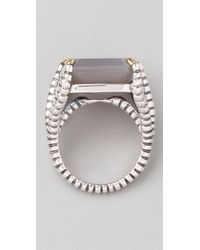 Elizabeth and James | Metallic Bird Claw Ring with Grey Agate Stone | Lyst