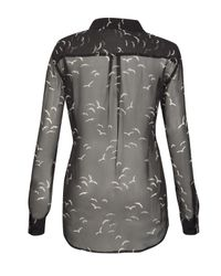 Equipment | Sheer Black Silk Bird Print Shirt | Lyst
