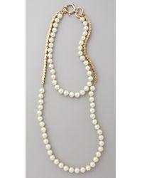 Fallon - Metallic Double Strand Pearl & Chain Necklace - Lyst