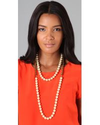 Fallon | Metallic Double Strand Pearl & Chain Necklace | Lyst