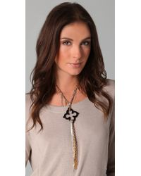 Gemma Redux - Black Agate Flower Necklace - Lyst