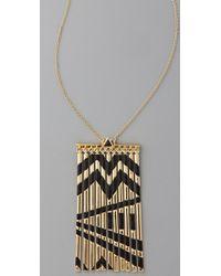 House of Harlow 1960 Metallic Metal Fringe Necklace