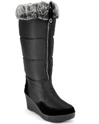 Juicy Couture | Ensley - Black Fabric Wedge Winter Boot | Lyst