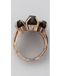 Low Luv by Erin Wasson - Black Triple Crystal Cocktail Ring - Lyst