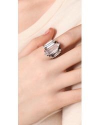 Low Luv by Erin Wasson - Metallic Triple Crystal Cocktail Ring - Lyst