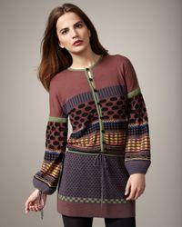 M Missoni - Brown Folk Tie-waist Tunic - Lyst