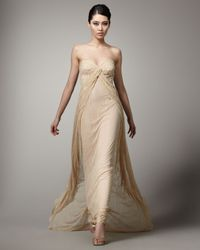 Mandalay Natural Strapless Lace Gown
