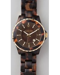 Michael Kors - Brown Round Oversized Tortoiseshell Watch - Lyst
