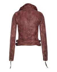 Muubaa - Red Flax Raw Leather Biker Jacket - Lyst