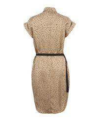 Sea Metallic Gold Star Print Belted Silk Shirt Dress