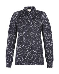Sea | Blue Navy Star Print Silk Pussy Bow Blouse | Lyst