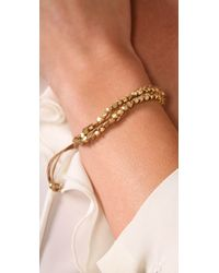 Shashi | Natural Double Petit Golden Nugget Adjustable Bracelet | Lyst