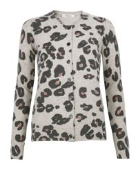 Sonia by Sonia Rykiel - Gray Grey and Coral Leopard Print Cardigan - Lyst