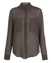 T By Alexander Wang Brown Taupe Sheer Silk Shirt Blouse
