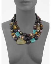 Alexis Bittar - Metallic Three-row Semi-precious, Multi-stone Necklace - Lyst