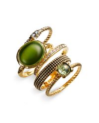 Ariella Collection | Green Stacking Rings | Lyst