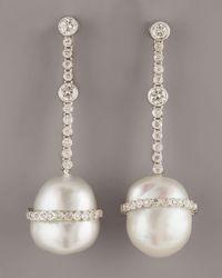 Assael | White Baroque Diamond Earrings | Lyst